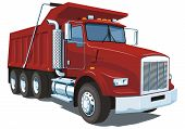stock photo of dump_truck  - Vector isolated red dump truck on white background without gradients and transparency - JPG