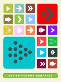 2D Multi Color Arrow Icon Set Background