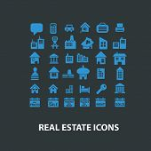 real estate icons, signs set, vector
