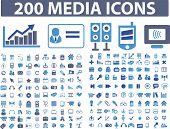 200 media, office, internet icons, signs set, vector