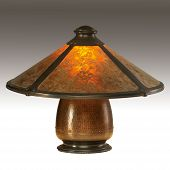 stock photo of mica  - Table Lamp with Mica Shade and Copper Base - JPG