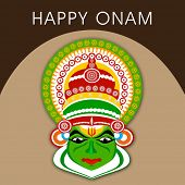 image of onam festival  - South Indian festival Onam wishes background with Kathakali dancer - JPG
