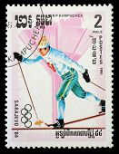 KAMPUCHEA-CIRCA 1984: A stamp printed in the Kampuchea, is dedicated to Winter Olympic Games in Sara