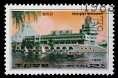 KOREA - CIRCA 1983: A stamp printed in Korea shows Chongryu Restaurant in Pyongyang, circa 1983