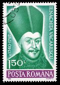 ROMANIA - CIRCA 1990: A stamp printed in Romania, shows portrait of Ienachita Vacarescu, 1740 -  179