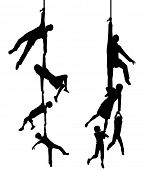 Two illustrated silhouettes of a family hanging at the end of a rope