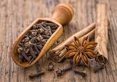 Spice scoop with cloves star anise and cinnamon sticks