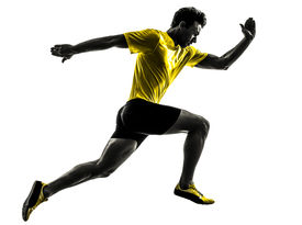 picture of sprinters  - one caucasian man young sprinter runner running  in silhouette studio  on white background - JPG