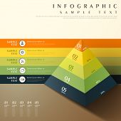 foto of pyramid  - flat style vector abstract 3d pyramid chart infographic elements - JPG