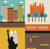 stock photo of freedom tower  - Illustration of  Symbols of New York made from different parts - JPG