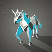 Three dimensional magic origami unicorn from folded paper