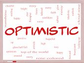 Optimistic Word Cloud Concept On A Whiteboard