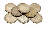 stock photo of shilling  - nine vintage union of south africa five shilling coins - JPG