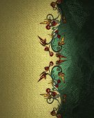 gold Background with plant pattern and green name plate
