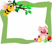 stock photo of piglet  - Cute Frames with Animals cute bee and piglet Concept - JPG