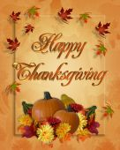 stock photo of happy thanksgiving  - Image and Illustration composition for Thanksgiving invitation or greeting card with 3D text - JPG