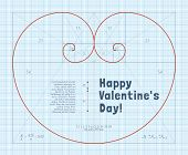 stock photo of fibonacci  - Heart of two Fibonacci Spiral on Graph Paper - JPG