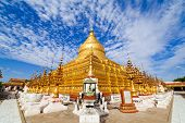 stock photo of pagan  - Shwezigon golden old Pagoda Bagan  - JPG