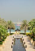Vista sobre Palm Jumeira do luxuoso Hotel, Dubai, Emirados Árabes Unidos
