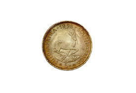 foto of shilling  - 1953 Union of South Africa five shilling coin - JPG