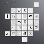 Info graphic squares dark elements template