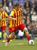 BARCELONA - MARCH, 29: Leo Messi of FC Barcelona in action during a Spanish League match against RCD
