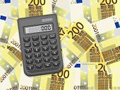 Calculator On Two Hundred Euro Background