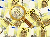 Magnifier On Two Hundred Euro Background