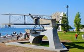 Monument Of Biplane In Belem, Lisbon, Portugal