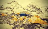 Tents In Everest Base Camp In Cloudy Day, Nepal, Vintage Retro Style