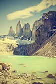 Torres Del Paine Mountains And Lake, Chile, Retro Vintage Filtered.