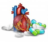 Heart Anatomy And Pills. Heart Treatment With Pills.