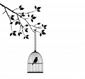 stock photo of caged  - vector illustration of a bird in a cage in the tree branch with leaves - JPG