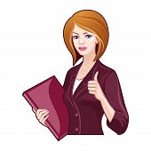 Business Lady With A Folder, Thumbs Up