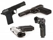 Set Of Soviet Handgun Tt (tula, Tokarev) Isolated On The White Background