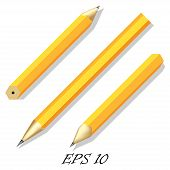 Three Simple Stationery Pencil In Different Angles. Vector Illustration.
