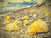 Tents In Everest Base Camp In Cloudy Day, Nepal, Vintage Retro Style.