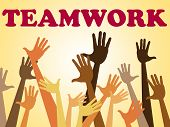 Teamwork Team Indicates Hands Together And Combined
