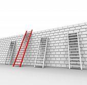 Brick Wall Indicates Chalenges Ahead And Blocked