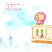 illustration of kid offering namaaz for Eid celebration