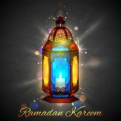 foto of eid ka chand mubarak  - illustration of illuminated lamp on Ramadan Kareem  - JPG