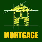 House Mortgage Shows Borrow Money And Apartment