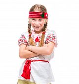 image of national costume  - cute happy  little girl in the national Ukrainian costume isolated over white background - JPG