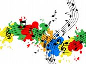 Splat Paint Represents Musical Note And Audio
