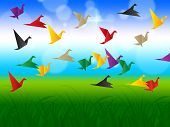 Sky Flying Represents Flock Of Birds And Escaped