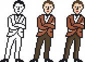 Vector Illustration of Pixel Businessman