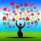 Handprints Tree Represents Valentine's Day And Artwork