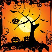 Halloween Tree Means Trick Or Treat And Celebration