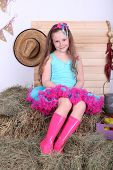 Beautiful small girl in petty skirt on country style background