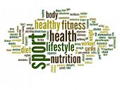High resolution concept or conceptual abstract sport and health word cloud or wordcloud on white bac